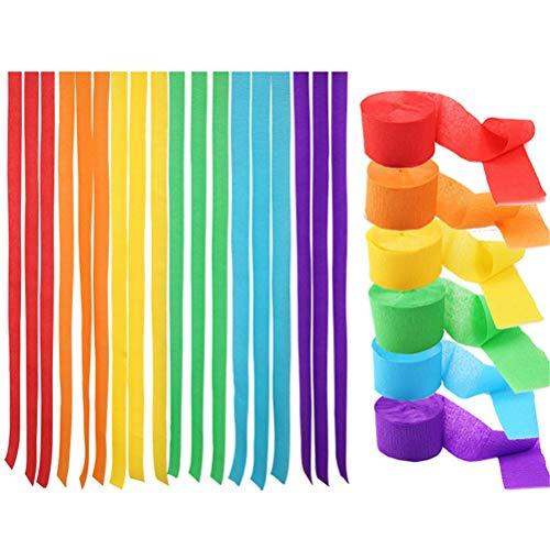 Opplei 3 Sätze Regenbogen Farbe Krepp Papier Luftschlangen Kreative DIY Dekorative Streamer Papier Hintergrund Dekorationen für Halloween Weihnachtsfest Hochzeit Geburtstagsfeier 4,5 cm * 25 m