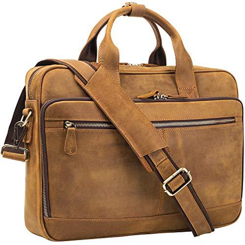 AIDU Maletín de cuero para hombre, bolsa de ordenador de piel auténtica, para 15,6 pulgadas, bolsa de mensajero para portátil