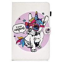 iPad Pro 11 2020ケースiPad 11インチケース アイパッドプロ11手帳型かわいい動物柄カードペン収納 女性 子供 人気 耐衝撃 全面保護 多角度スタンド オートスリープ機能おしゃれTPUレザー Tablet カバー(ユニコーン犬)