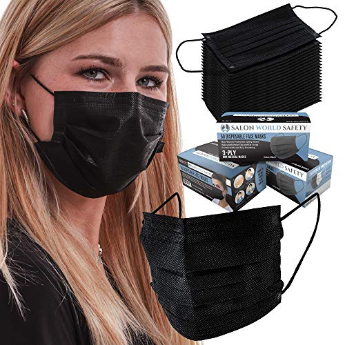 TCP Global Salon World Safety - Black Face Masks 3 Boxes (150 Masks) Breathable Disposable 3-Ply Protective PPE with Nose Clip and Ear Loops
