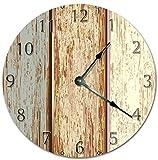 DKISEE PT756 - Orologio da parete orizzontale, in legno, silenzioso, non ticchettio, decorativo, rotondo, per casa, ufficio, scuola, arredamento, 30 cm