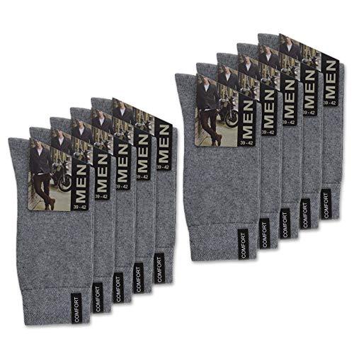 sockenkauf24 10 Paar Herren Socken mit Komfort-Bund aus Baumwolle in Schwarz, Jeans, Grau oder Anthrazit - 15922 (43-46, 10 Paar | Grau)