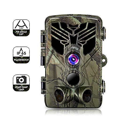 SUNTEKCAM Wildkamera Fotofalle mit Bewegungsmelder Nachtsicht 20MP 1080P Full HD Wildtierkamera mit Infrarot No Glow LEDs und IP65 Wasserdicht Jagdkamera mit 8G Speicherkarte