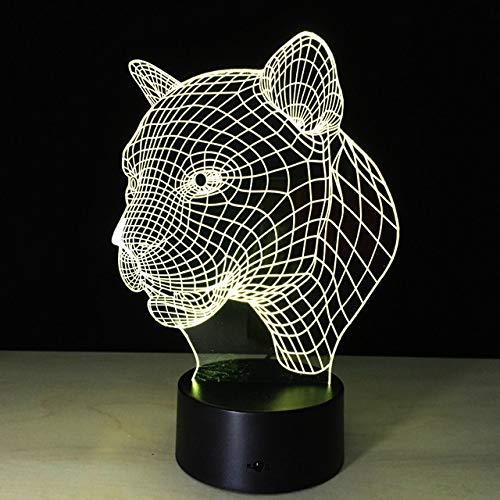 3D LED luz nocturna leopardo cabeza de tigre figura de acción 7 colores táctil ilusión óptica lámpara de mesa modelo de decoración del hogar