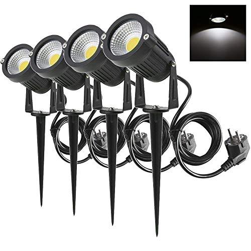 4 Packs, 5W LED Impermeable IP65, Luz de Paisaje al Aire Libre 220V Focos de exterior con enchufe, de iluminación Para Calzada, Patio, Cesped, Pathway, Jardín