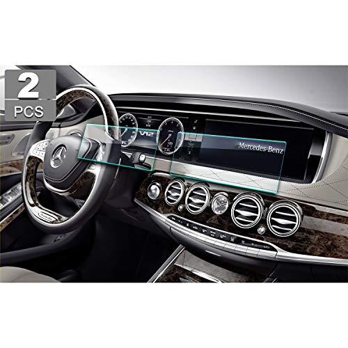 (2 Piezas) Protector de Pantalla de Cristal Templado Mercedes-Benz S-Class W222 para Pantalla de navegación - Protección múltiple 9H YEEPIN ((2013-2017) 12.3 Pulgadas)