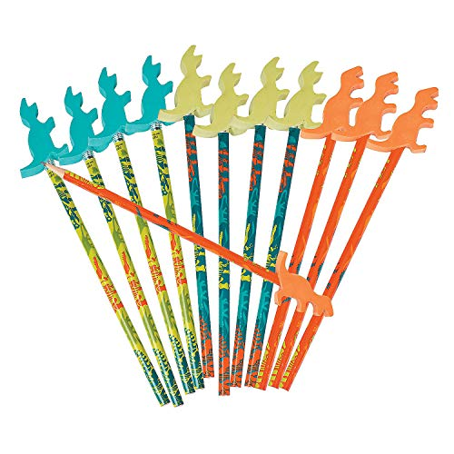 Fun Express Dino Dig Pencils with Erasers | 12 Count | Great for Kids Birthday Party, Dinosaur/Jurrasic Themed Events, Prizes & Favors