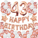 Succris 43RD Birthday Decorations for Girls and Women 43RD Birthday Decorations 43 Years Old Birthday Party Supplies Happy Birthday Banner Rose Gold Confetti Balloons Rose Gold