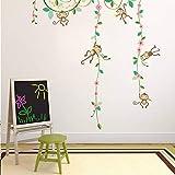 Garten Blume Pflanze Affen Baum Höhe Maßnahme Wandaufkleber für Kinderzimmer Gartenzaun Schlafzimmer Dekorationen Wandtattoo