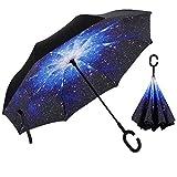 Paraguas Invertido Mujer Sol y la lluvia Reverso Paraguas Parasol de Protección Contra el Viento Ultravioleta de Reversa con Mango en Forma de C Para el Coche de Viajes al Aire Libre (E)