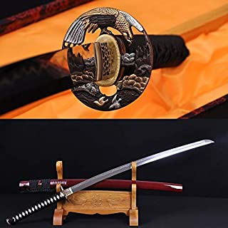GUREN 41 Clay Tempered Damascus Japanese Samurai Hawk Sword Katana Folded Steel Full Tang Brass TSUBA -HANBON Hand Forged Blade Custom