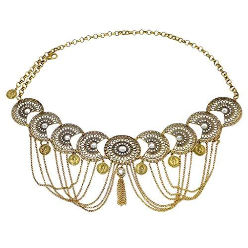 joyMerit Cadena del Cuerpo de La Cintura del Vintage, Arnés Ajustable del Cuerpo de La Cadena del Vientre del Colgante del Cinturón de Cintura de Cristal - Oro