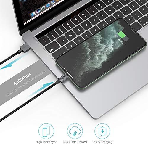 Syncwire iPhone Ladekabel 2M Lightning Kabel - [Mfi Zertifiziert] Ladekabel iPhone aus Nylon für iPhone 12/SE 2020/11 Pro Max/11 Pro/11/XS Max/XS/XR/X/8/8 Plus/7/7 Plus/6S/6/6 Plus, iPad -Schwarz