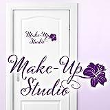 Wandaro Wandtattoo Türaufkleber Make-Up Studio I Hellrosa (BxH) 28 x 11 cm I Badezimmer Schminkzimmer Sticker Aufkleber Wandaufkleber Wandsticker W3416