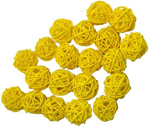 Ougual Set of 20pcs Wicker Rattan Balls Table Wedding Party Christmas Decoration (Diameter 3cm, Yellow)