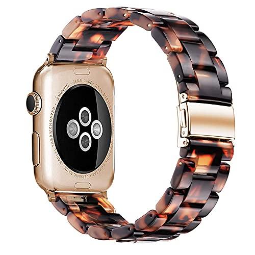 Compatible con Correa de Reloj Apple 38/40mm 42/44mm, con Hebilla Pulsera de Inoxidable, Correa de Repuesto de Resina para iWatch Series SE 6 5 4 3 2 1,A,38/40mm