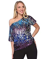 Midnight Short Sleeve One Shoulder Sequin Top Blouse