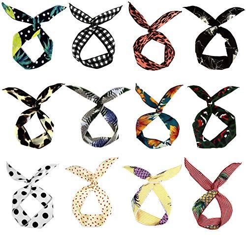 LilMents - Juego de 12 cintas para el pelo, diseño de orejas de conejo
