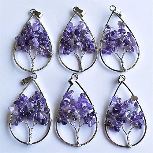 PINGPUNG Cristal Brut 12pcs / lot Naturel Violet Cristal Arbre de la Vie Pendentifs de Goutte à Main à la Main for Les Bijoux