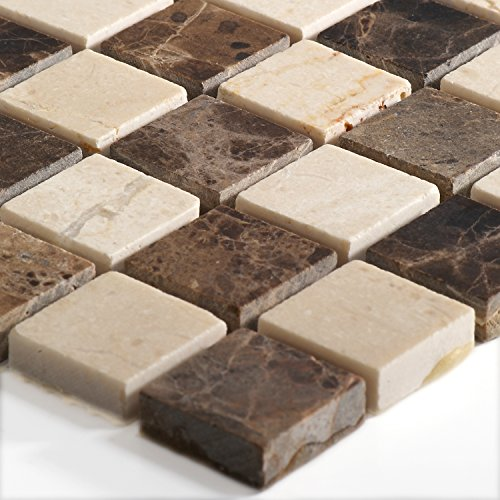 Marmor Naturstein Mosaik Fliesen Beige Braun Mix