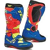 TCX 9661 Comp EVO Michelin Stivali da Motocross 47 Rosso Blu Giallo Fluo