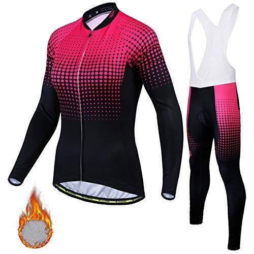 レディース サイクルジャージ 上下セット長袖 裏起毛 秋冬用 上下セット ビブ付き 自転車ウエア サイクリングウェア 防風 保温 サイクルウェア スポーツ ブラック高弾性 3Dゲルパッド付き Women's Cycling Suit QC-2,ZX4,XXL