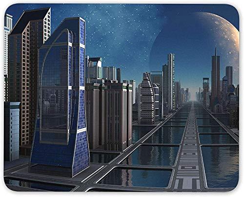 N\A Alfombrilla para ratón, Space City Cosmos Alfombrilla para Mouse Moderna de Ciencia ficción - Cool Comic Gift Computer