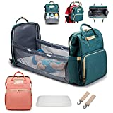 singslife 3 in 1 Travel Bassinet Foldable Baby Bed Portable Diaper Changing Station Mummy Bag Backpack Folding Crib Diaper Bag with Bed Portable Bassinets for Babies (Pink)