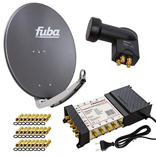 PremiumX Satelliten-Komplettanlage Fuba DAA 780 A Satellitenschüssel Alu Anthrazit 5/8 Multischalter Quattro LNB 24x F-Stecker, 1 SAT 8 Teilnehmer