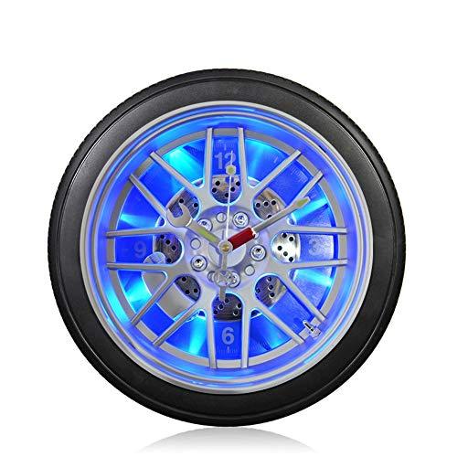 DC Wesley LED Nachtlicht Stumm Wanduhr Kreative Autoreifen Wohnzimmer Schlafzimmer Quarz Wanduhr Stumm Uhr (Size : M)