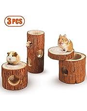 Lurowo - Tubo de túnel de madera, 3 accesorios de juguete para masticar natural, juguete de túnel de hámster con cubierta extraíble para hámster, ardilla, hurón, cobaya, chinchilla loro