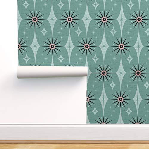 Vintage, Diamanten, grün, retro, mint, 1950er Jahre, fünfziger Jahre, 50er Jahre Spezialangefertigte Selbstklebende Tapete 61 cm x 310 cm von Spoonflower