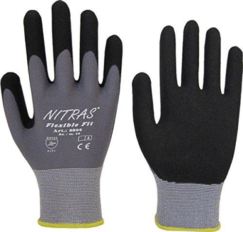 24 Paar NITRAS 8800 Flexible Fit Montagehandschuh Spezialbeschichtung grau/schwarz Stretchgewebe, Gr: 10