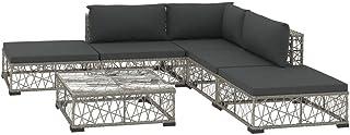 vidaXL Set de Muebles de Jardín 6 Piezas y Cojines Ratán Sintético Casa Hogar Terraza Piscina Parque Decoración Diseño Estilo Conjunto Mobiliario Gris