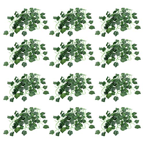 Ratán de plástico para bricolaje, decoración de hoja verde realista duradera para mesa de comedor para restaurante para decoración(Grape leaves)
