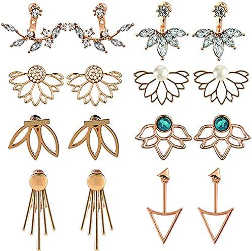 5 paia Orecchini a forma di fiore di loto chic di cristallo Orecchini a bottone semplice chic di cristallo (A#Gold)
