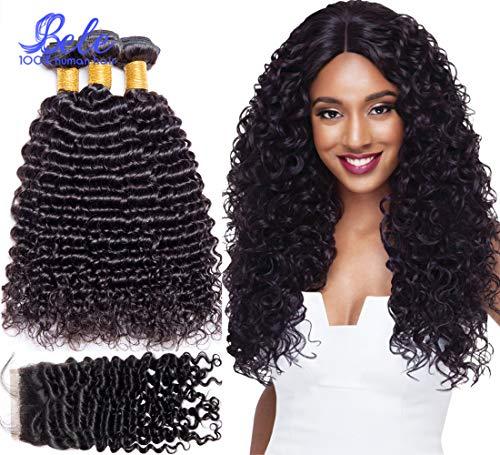 Bele Cheveux Humains 8A Cheveux Bouclés Profonds 3 Faisceaux Avec Fermeture de Partie Gratuite Extensions de Cheveux Humains (20 22 24+18\