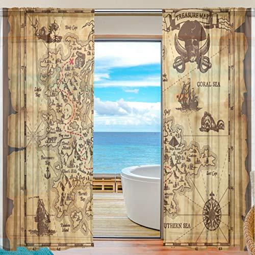 MNSRUU Vorhänge mit Piraten-Schatzkarte, 198 cm lang, Tüll, Voile, Vorhänge für Wohnzimmer, Schlafzimmer, 2 Paneele