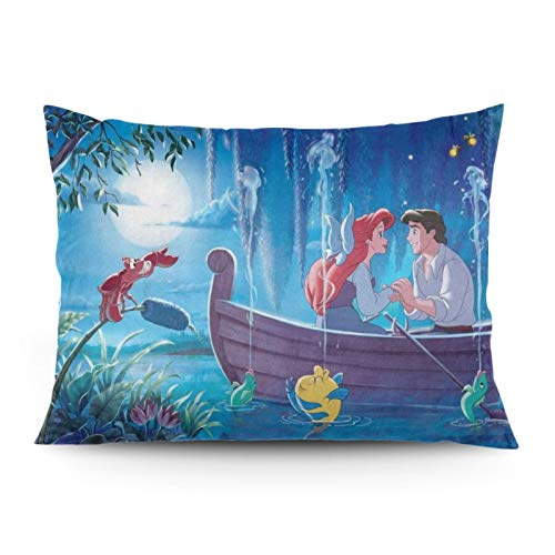 Omigge Cute Cartoons Square Throw Pillow Case, Soft Velvet Cushion Cover With Hidden Zippe For Couch Sofa Home Bed Decoration,Disney Ariel Little Mermaid Boat Moon