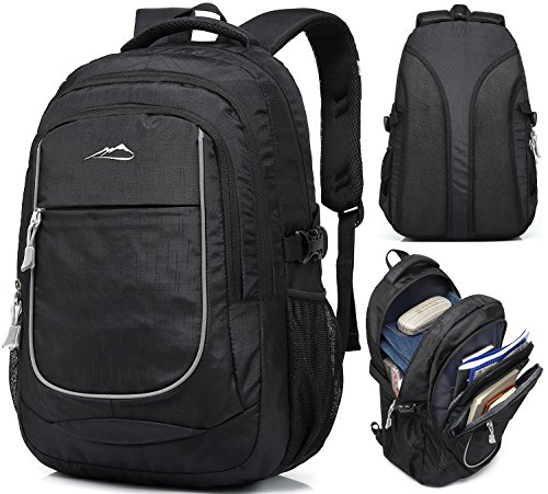 Backpack for School Bookbag College Student Travel Business Hiking Fit Laptop Up to 15.6 Inch Lightweight Night Light Reflective (Black)
