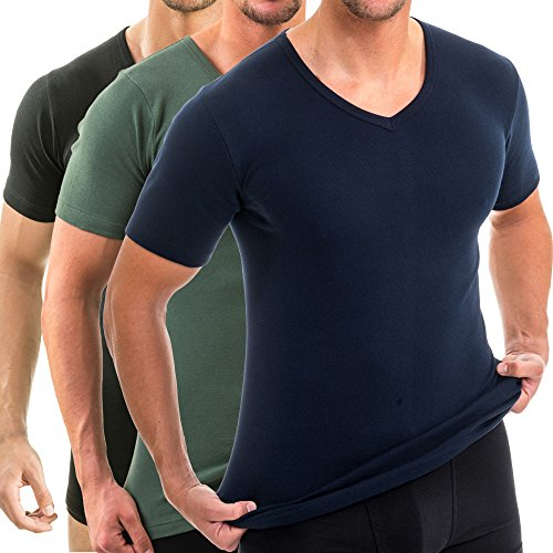 HERMKO 4880 3er Pack Herren Kurzarm Business Shirt V-Neck (Weitere Farben), Größe:D 9 = EU 3XL, Farbe:Mix s/m/o