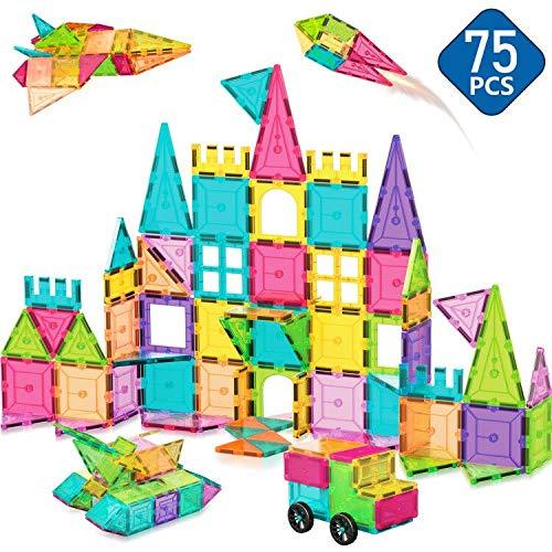 ACTRINIC Kinder Magnetische Bausteine Spielzeug 75Pcs Übergroße 3D-Magnetfliesen Bausteine Fliesen Set, Inspirierendes Lernspielzeug für 3 4 5 6 Jahre Alte Jungen Mädchen Geschenke