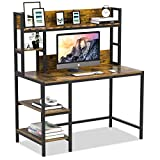 Bizzoelife Computer Writing Desk with Hutch and Bookshelf, Home Office Study Table & 2 Tier Storage Shelves Combo, 47inches Sturdy Wooden Vanity Desk for Kids and Student, Easy Assembly, Retro Brown