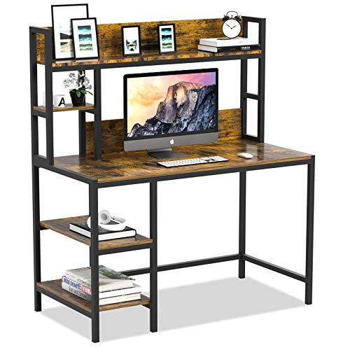 Bizzoelife Computer Writing Desk with Hutch and Bookshelf, Home Office Study Table & 2 Tier Storage Shelves Combo, 47inches Sturdy Wooden Vanity Desk for Kids and Student, Easy Assembly, Rustic Brown