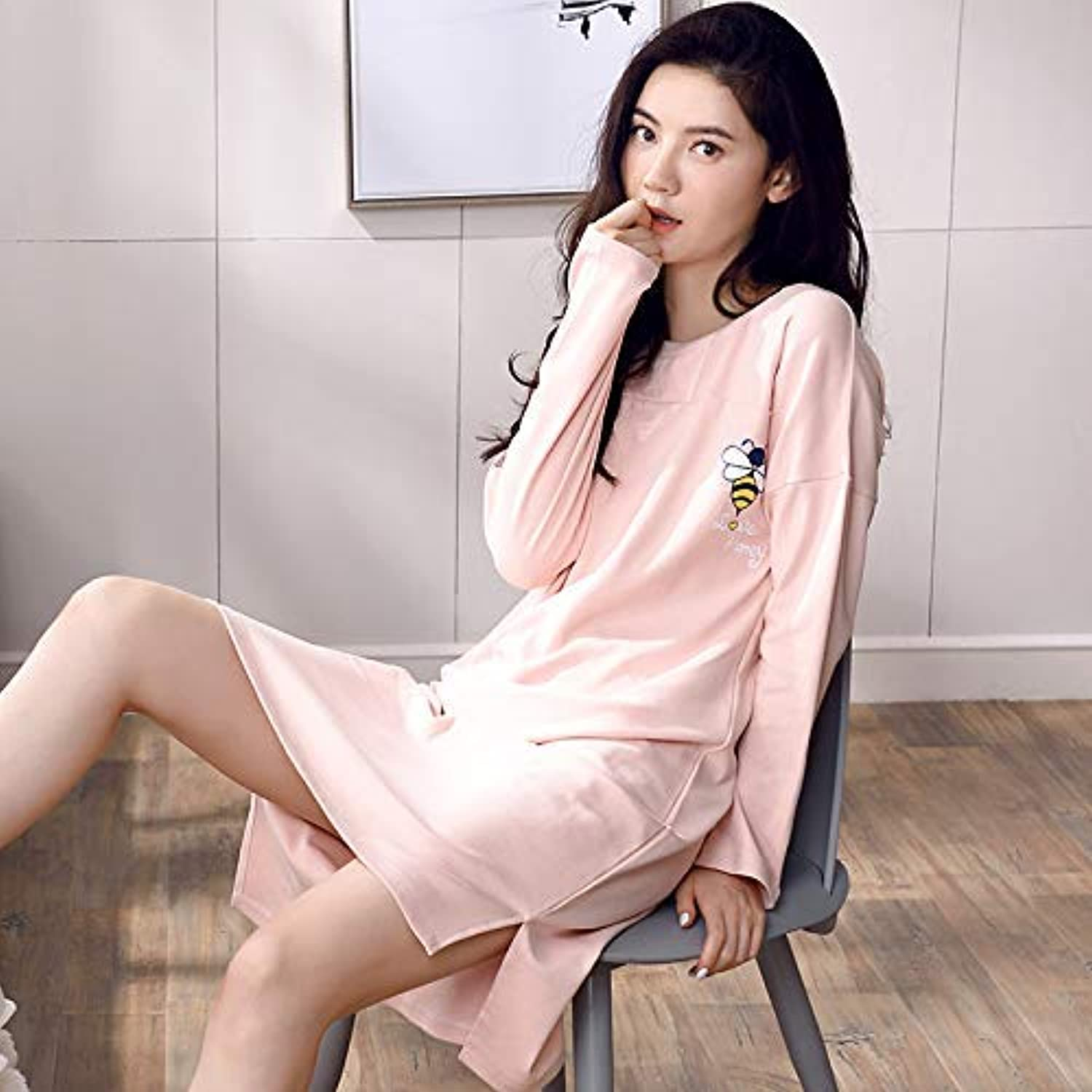 Nightshirt, LongSleeved Nightdress Female Cotton Autumn Loose Pajamas Korean Version of The Cute Large Size Long Skirt Ladies Home Service Autumn and Winter (Size   XL) (Size   XLarge)