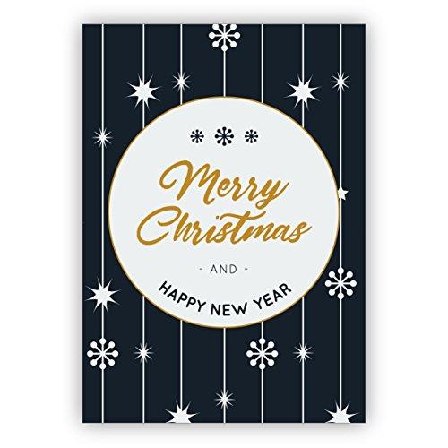 Kartenkaufrausch Mooie blauw witte kerstkaart met sterren patroon: Merry Christmas and happy new year • directe verzending met hun tekst op inlegger • als kerstpost voor Nieuwjaar, oudejaarsavond