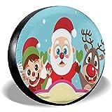 Drew Tours Happy Christmas Print Cubierta de Rueda de neumático de Repuesto Cubiertas de Llantas Impermeables a Prueba de Polvo a Prueba de Polvo Remolque, RV, SUV, Camión y Muchos vehículos ATC-309