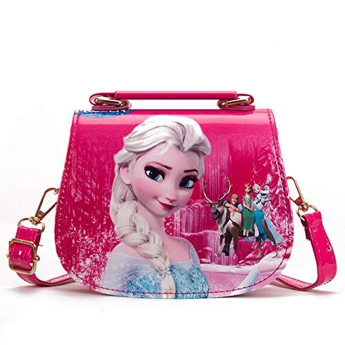 N / A Prinzessin Kinder Pu Aufbewahrungstasche Mädchen Frozen ELSA Umhängetasche Sofia Handtasche Kinder Mode Einkaufstasche Geschenk 16x13x7CM