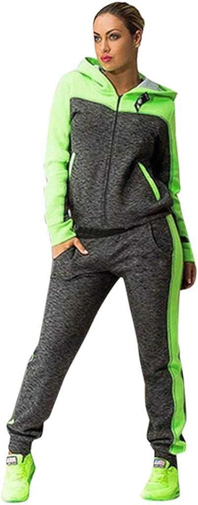 TBKOMH Women Sports Two Piece Set Hooded Sweatshirt Suits Tracksuits Sweatpants