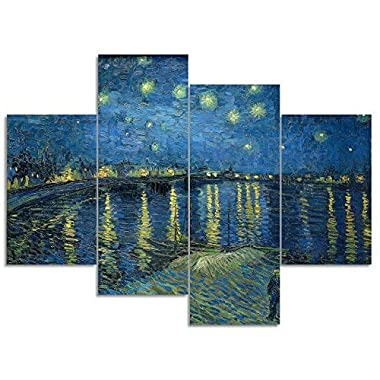 Starry Night Over the Rhone by Van Gogh Paintings Modern Print Artwork Seascape Pictures on Canvas Wall Art for Living room Home Office Decorations Set Framed Ready to Hang for House(48x36inch)
